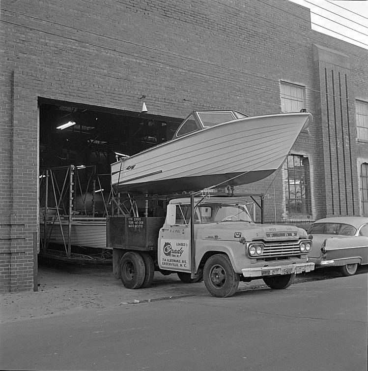 The first Grady-White manufacturing site was in a tobacco warehouse in downtown Greenville, NC.