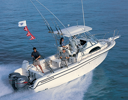 The Sailfish 282 with flags flying.