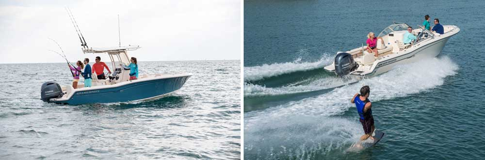 Grady-Whites' 21-foot dual and center console models on the water.