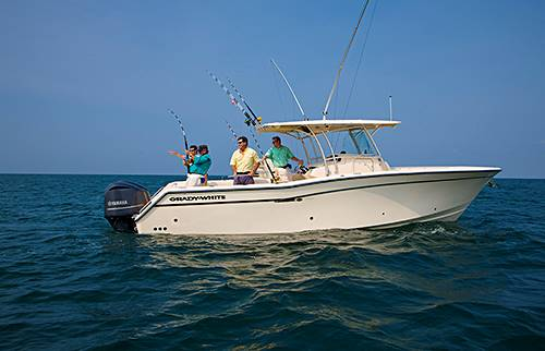 Catching a big one on a Grady-White Canyon 336, 33-foot center console model.
