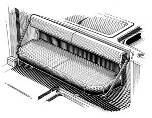 Patented designs like this folding aft bench seat add comfort and versatility to every model.