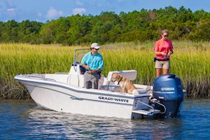 Grady-White Fisherman 180 18-foot center console fishing boat family with dog