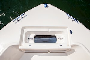 Grady-White Fisherman 180 18-foot center console forward anchor lock with rode storage