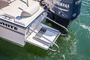 Grady-White Fisherman 180 18-foot center console swim platform with ladder