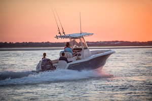 Grady-White Fisherman 216 21-foot center console running sunset