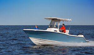 Grady-White Fisherman 216 21-foot center console boat cruising port side
