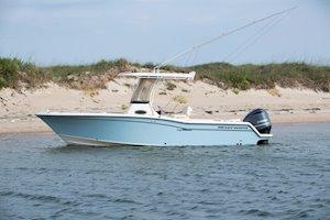 Grady-White Fisherman 236 23-foot center console boat profile beach