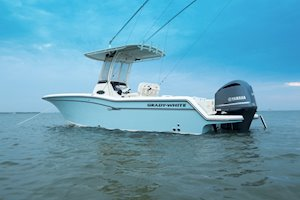 Grady-White Fisherman 236 23-foot center console profile at anchor