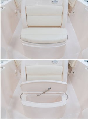 Grady-White Fisherman 236 23-foot center console forward console seat with cushioned backrest