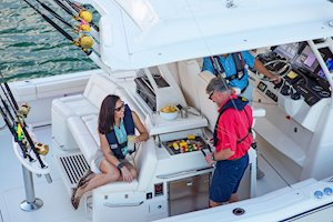 Grady-White Canyon 456 45-foot center console fishing boat grilling
