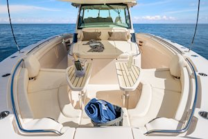 Grady-White Canyon 456 45-foot center console fishing boat forward seating with tables