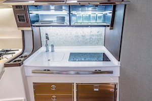 Grady-White Canyon 456 45-foot center console fishing boat galley and upper storage