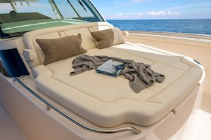 Grady-White Canyon 456 45-foot center console fishing boat forward lounge seat