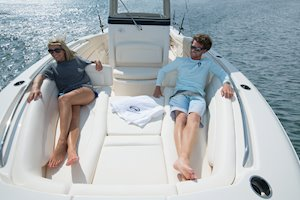 Grady-White Canyon 271 27-foot center console cushioned bow seating