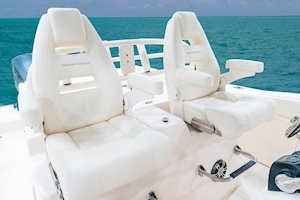 Grady-White Canyon 306 30-foot center console lean bar chairs