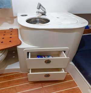 Grady-White Canyon 336 33-foot center console sink drawer storage