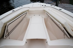 Grady-White Canyon 336 33-foot center console forward fish boxes