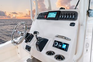 Grady-White 251 CE 25-foot Coastal Explorer fishing boat flush mount helm electronics area
