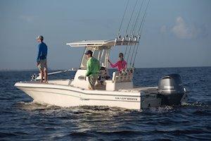 Grady-White 251 CE 25-foot Coastal Explorer fishing boat rear three-quarter port side
