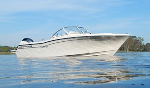 Grady-White Freedom 215 21-foot dual console side profile from water level starboard side