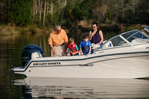 Grady-White Freedom 215 21-foot dual console boat kids fishing