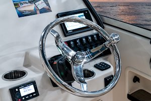 Grady-White Freedom 235 23-foot dual console steering wheel