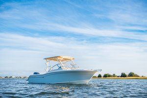Grady-White Freedom 235 23-foot dual console starboard side profile