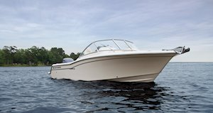 Grady-White Freedom 235 23-foot dual console starboard side profile bow forward