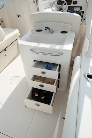 Grady-White Freedom 255 25-foot dual console boat wet bar and storage