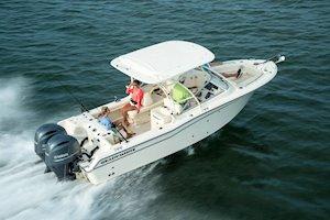 Grady-White Freedom 255 25-foot dual console boat running rear three quarter