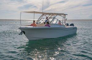 Grady-White Freedom 275 27-foot dual console boat bow shade