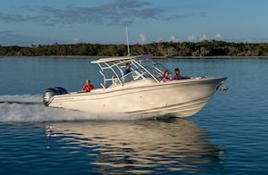 Grady-White Freedom 275 27-foot dual console boat running starboard side