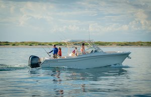 Grady-White Freedom 275 27-foot dual console boat fishing starboard side