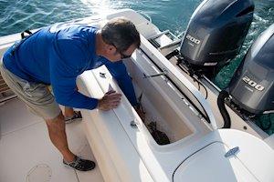 Grady-White Freedom 275 27-foot dual console boat aft fish box
