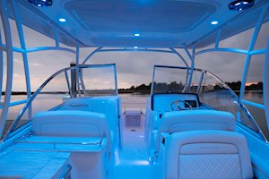 Grady-White Freedom 285 28-foot dual console boat cockpit lights at night