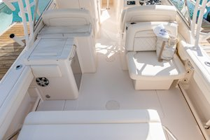 Grady-White Freedom 285 28-foot dual console boat cockpit overall