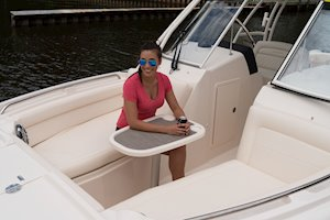 Grady-White Freedom 285 28-foot dual console boat bow table and seating