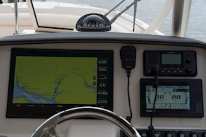 Grady-White Freedom 285 28-foot dual console boat helm electronics and compass