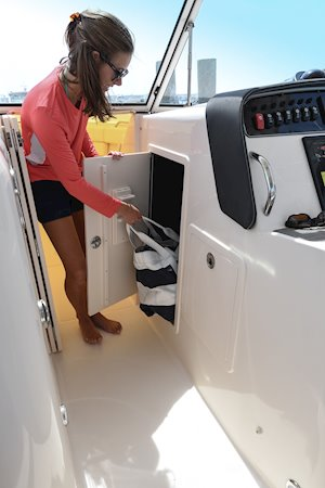 Grady-White Freedom 307 30-foot dual console lockable starboard compartment with light