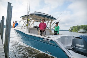 Grady-White Freedom 325 32-foot dual console fishing boat docking