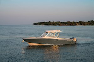 Grady-White Freedom 325 32-foot dual console fishing boat in bay