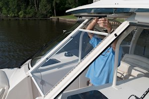 Grady-White Freedom 325 32-foot dual console fishing boat windshield vent