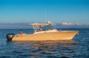 Grady-White Freedom 375 37-foot dual console fishing boat starboard side