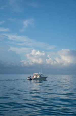Grady-White Freedom 375 37-foot dual console fishing boat on ocean