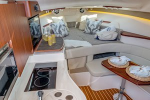 Grady-White Boats Express 330 33-foot Express Cabin Boat interior forward berth and galley