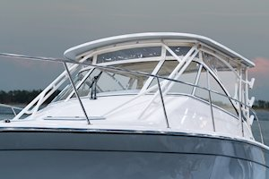 Grady-White Boats Express 330 33-foot Express Cabin Boat windshield and canvas