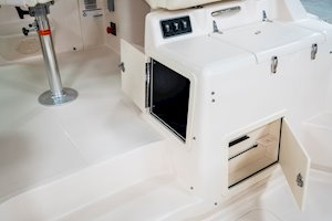 Grady-White Boats Express 330 33-foot Express Cabin Boat storage under helm surround seating