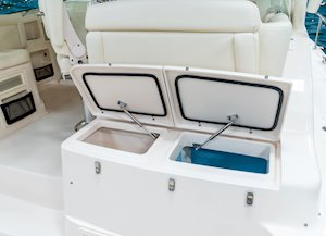 Grady-White Boats Express 370 37-foot Express Cabin boat rigging station with livewell