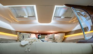 Grady-White Boats Express 370 37-foot Express Cabin boat forward berth with skylights