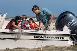 Grady-White Boats Adventure 208 20-foot Walkaround Cabin fishing boat crabbing with kids
